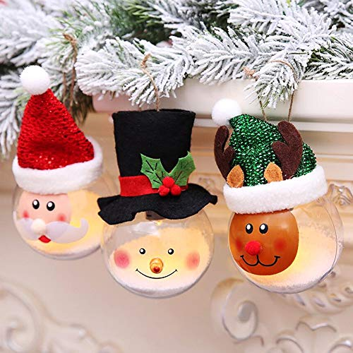 DENTRUN Christmas Crystal Sphere Ball LED Lighted Hanging Outdoor Decoration, Winter Snowman Elk Santa Tabletop Crackled Glass Décor, Star Lights Set Indoor/Outdoor Use, Chrestmas Gift (3 Pack)]()