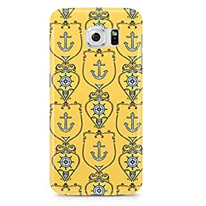 Samsung Galaxy S6 Edge Case Yellow Nautical Pattern-Hard Plastic Tough Wrap Around Phone Cover