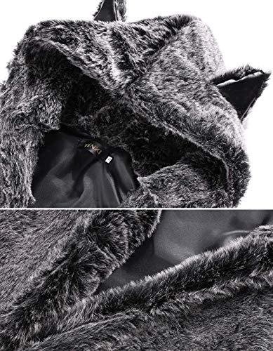 Piel Parkas Outwear Caliente Chaqueta Festiva Especial Estilo Piel Vintage De Elegante BoBoLily Grau Abrigos De Chaqueta Invierno Temporada Mujer Falsa Abrigo Invierno PvHSwz