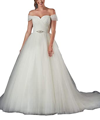 Momabridal Long Tulle Off Shoulder Wedding Dresses Ruched Bridal ...
