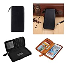 DFV mobile - Executive Wallet Case with Magnetic Fixation and Zipper Closure for => ACER LIQUID Z410 DUAL > Black