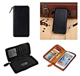 DFV mobile - Executive Wallet Case with Magnetic Fixation and Zipper Closure for => GIONEE MARATHON M5 ENJOY (2015) > Black