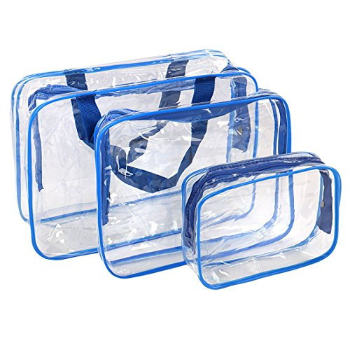 3Pcs Crystal Clear PVC Travel Bag Kit for Men Women, Waterproof Vinyl Packing Organizer Storage Bag with Zipper Closure and Handle Straps, Cosmetic Pouch, Diaper Bag, Handbag Pencil Bag Black (Blue Diaper Pouch)