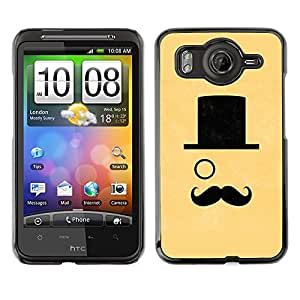 TopCaseStore / la caja del caucho duro de la cubierta de protección de la piel - Hat Monocle Handlebar Yellow Sir - HTC G10