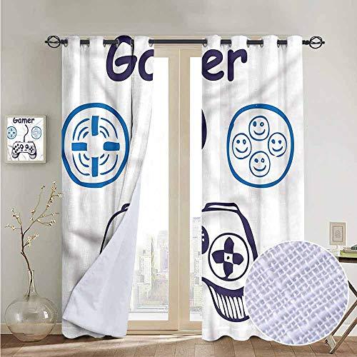 fengruiyanjing Custom Solid Grommet Curtains Multi, Gamer, Sketch Controller Smiley Face 72