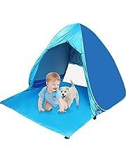 Pop up Strandmuschel Strandzelt Beach Zelt Tragbar Wurfzelt,UV Schutz 50 für1~3person Familie Tragbares Strandzelt in Blau