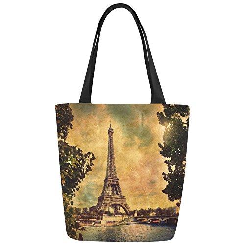Women Girl Canvas Travel Handbag Shoulder Shopping Bag Paris Eiffel - 8