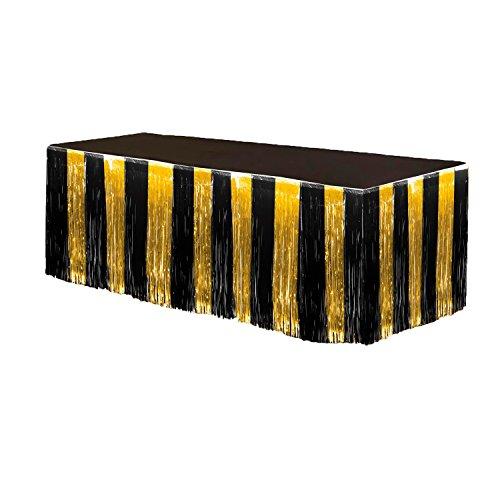 Fringe Table Skirt Gold and Black 9 ft x 29 inches Pkg/3 -