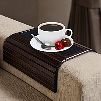 Kleeger Sofa Arm Tray Table: Wood Side Table Tray  Flexible, Portable & Folding Couch Drink Holder