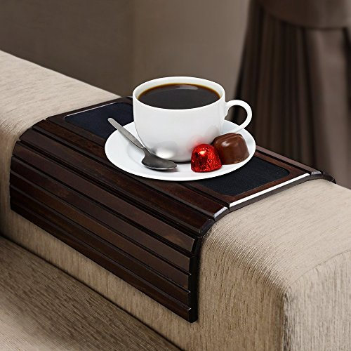 Kleeger Sofa Arm Tray Table: Wood Side Table Tray| Flexible, Portable & Folding Couch Drink (Sofa Arm Tray)