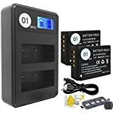 DOT-01 2x Brand 1800 mAh Replacement Fujifilm NP-W126 Batteries and Smart LCD Display Dual Charger for Fujifilm X-A10 Digital Camera and Fujifilm NPW126 Accessory Bundle