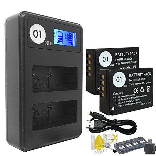 DOT-01 2x Brand 1800 mAh Replacement Fujifilm NP-W126 Batteries and Smart LCD Display Dual Charger for Fujifilm X100F Digital Camera and Fujifilm NPW126 Accessory Bundle by DOT-01