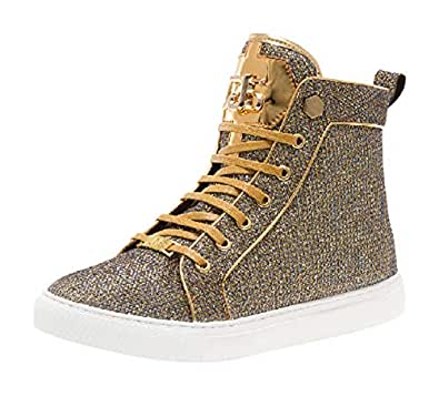 Jump J75 Rascal High Top Ornamented Sneaker Gold Size: 8.5