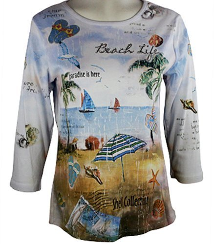 Cactus Fashion - Beach Life, 3/4 Sleeve, Rhinestone Studded, Artfully Printed...