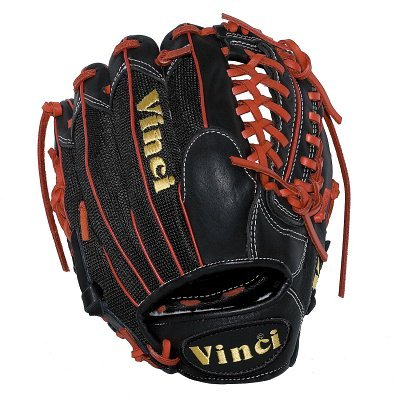 Vinci JC3333-22: 11.5 inch Baseball Glove with Black Mesh Back, Red Lace and Red Welting