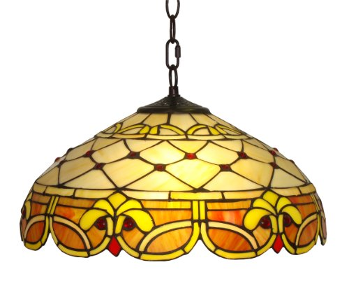 Amora Lighting Am1061hl16 Tiffany Style Ceiling Pendant Hanging Lamp 16 Inch