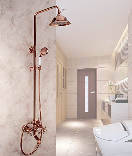 All copper rose flower shower shower European style retro shower set gold double shower head with lifting XYSPIE