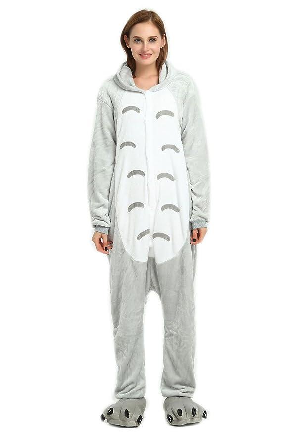 Pijama de invierno de una pieza, talla para adulto, de franela, Totoro, L(165-173cm)