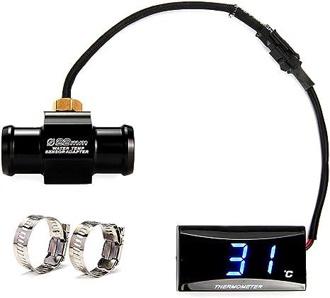 Sarplle Motorrad Thermometer Lcd Digitales Wassertemperatur Adapter Aluminium Temperatur Wasser Temperaturanzeige Öltemperaturanzeiger 22 Mm Küche Haushalt