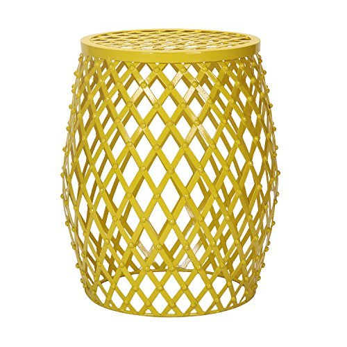 Cheap Adeco Home Garden Accent Round Iron Metal Stool Side End Table Plant Stand Chair, Hatched Diamond Pattern, for Indoor Outdoor, Bright Yellow