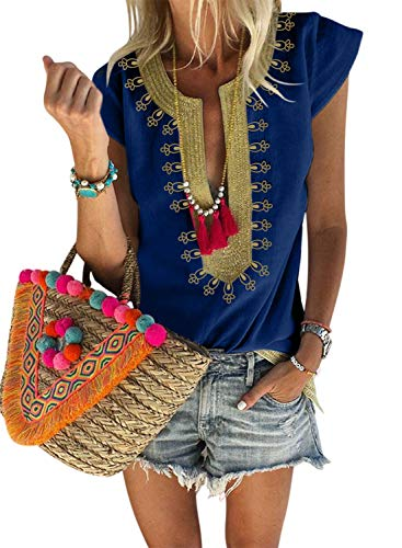 - Chase Secret Womens Summer V Neck Boho Print Embroidered Shirts Cap Sleeve Casual Tops Blouse M Blue