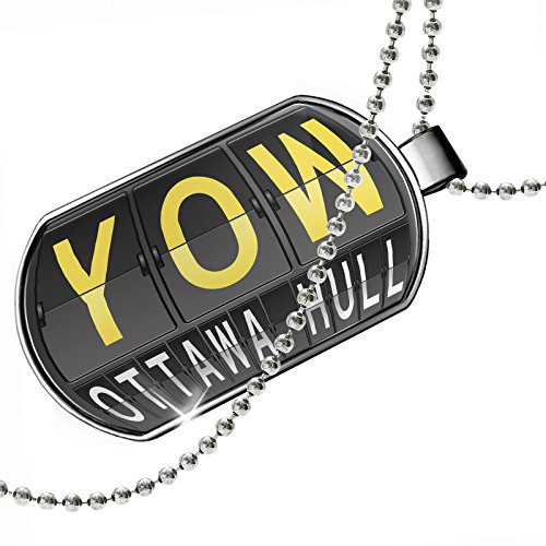Dogtag YOW Airport Code for Ottawa - Hull Dog tags necklace - - Shops Airport Ottawa