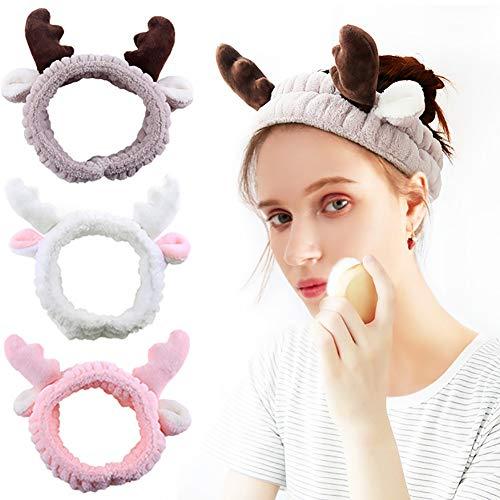 3 Pack Hogoo Cute Deer Antler Cat Ears Plush Headbands Soft Elastic Hair Loop Hair Bands Facial Makeup Wrap for Women Shower SPA Mask