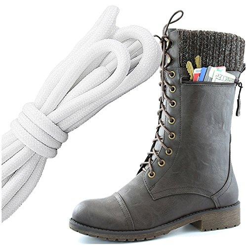 Dailyshoes Womens Combat Stijl Lace Up Enkellaarsje Ronde Neus Militaire Knit Creditcard Mes Geld Portemonnee Pocket Laarzen, Wit Zwart Bruin Pu