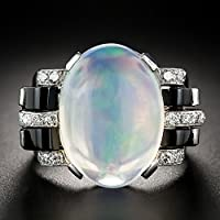 Aisamaisara 925 Silver Original OVAL RAINBOW MOONSTONE BESTSELLER Ring Wedding Jewelry 6-10 (6)