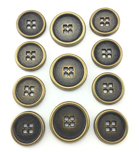 (MetalBlazerButtons.com Brand ~DIE-CAST 4-Hole SEW-Through Metal Button Set (Crafted for Blazers, Sport Coats, and Suit Jackets) (Antique Brass, 11-Button Set) )