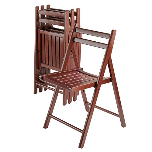 Winsome Wood Robin 4 Piece Folding Chair Set Walnut by Winsome Wood