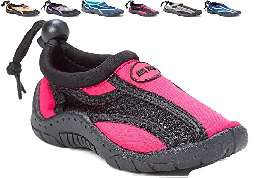 Children's Kids Water Shoes Aqua Socks Beach Pool Yoga Exercise Black/Pink Big Kid 6