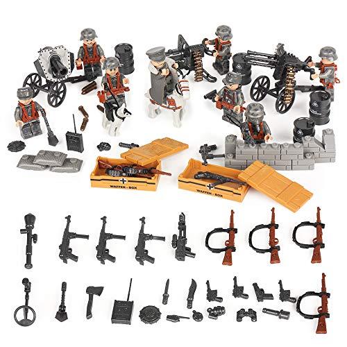 German Squad WW2 World War II Custom Soldiers 8 Minifigs Set Weapons Blitzkrieg Building Blocks Compatible ()