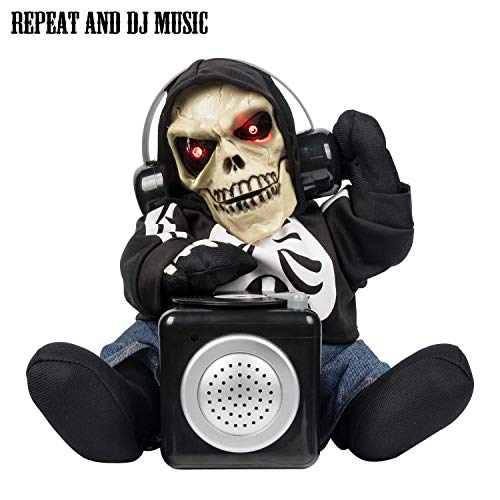 Halloween Skull Candy Black Doll Animation DJ Skull Repeat Words with DJ Scratch Decoration Halloween Decoration Props Supply