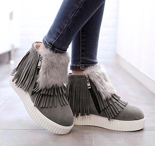 Chfso Donna Confortevole In Eco-pelliccia Foderata Con Cerniera Impermeabile Nappa Piattaforma Tacco Basso Inverno Caldo Sneaker Stivali Grigi