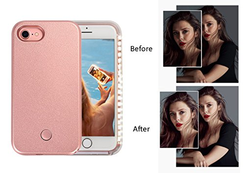 Wellerly iPhone 7 Case, iPhone 8 case, LED Illuminated Selfie Light Cell Phone Case Cover [Rechargeable] Light Up Luminous Selfie Flashlight Case for iPhone 7 / iPhone 8 4.7inch (Rose Gold) by Wellerly (Image #3)