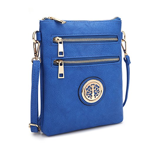 (Dasein Small Crossbody Bag Multi Zipper Pockets Messenger Bag Lightweight Shoulder Bag Functional Purse)
