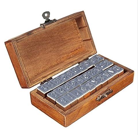 Angelwing Alphabet Stamp Rubber Set Romantic Design Capital Letter Retro Vintage Wooden Craft Box (Kitchen Fairy Nativity)