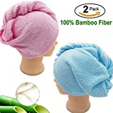 Hair Towel Wrap Long Hair Towels Turban Twisty Towel Bamboo Fiber Antibacterial Super Absorbent For women (Pink+Blue)