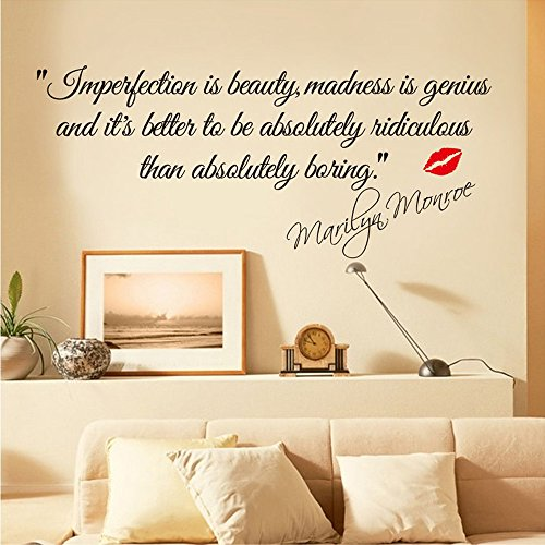 [COFFLED Marilyn Monroe Saying Wall Decal Stickers,Impersonation Is Beauty,Fantastic Wall Decoration for Bedroom or Sitting] (Michael Jackson Decorations)