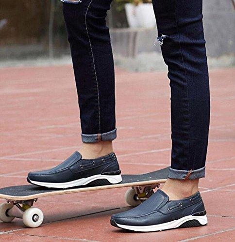 Männer Slip-On Oxford Boutique Skateboard Schuhe Lässige Schuhe Weiches Leder Leder Mit Bequemen Ebenen Schuhe , blue , 38