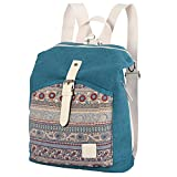 Womens backpack purse canvas convertible shoulder bag lightweight casual daypack boho travel rucksack for girls