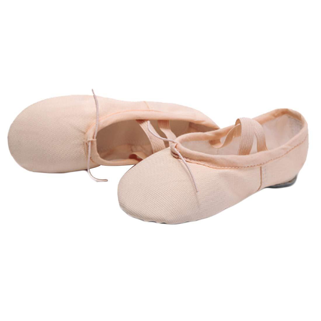 DAIYO Frauen weiche elastische Leinwand Ballettschuhe Ledersohle Yoga Tanz Praxis Schuhe f/ür Kinder