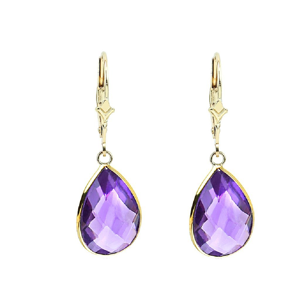 14K Yellow Gold Handmade Gemstone Earrings With Dangling Pear Shape Amethyst