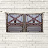smallbeefly Industrial Sports Towel Zinc Style Wooden Gate Image Street Construction Window Covered with Plank Image Absorbent Towel Brown Grey Size: W 12'' x L 35.6''