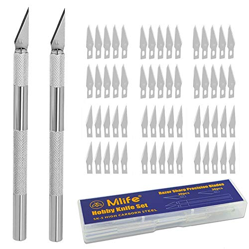 Mlife Precision Carving Craft Knife Stainless Steel Hobby Knives for DIY Art Work Cutting - 2 Handles and 60 Spare Blades with Storage ()