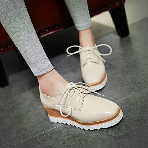 Wedge Latasa Lace Beige Heel Comfort Oxford up Shoes Womens Platform EXwXq6r