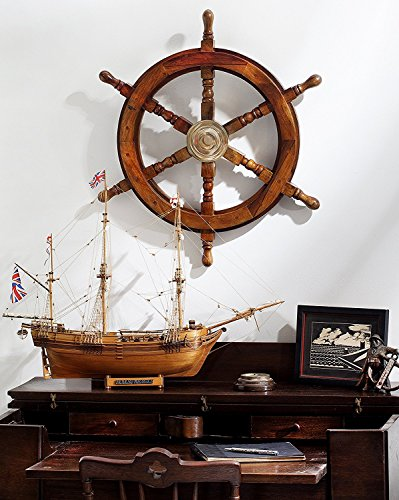 """24"""" Wooden Ships Wheel with Brass Hub by KINDWER"""