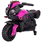 Tobbi Kids Motorcycle Ride On 6V Battery Powered 4 Wheel Bicycle Electric Toy Pink