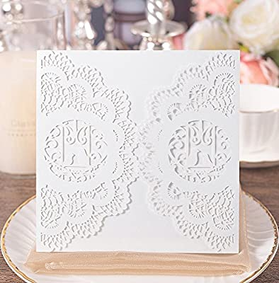 20pcs Elegant Wedding Invitation Cards Cover Laser Cut Love Bird Floral Lace Invitation Template Cardstock For Bridal Baby Shower Engagement Birthday
